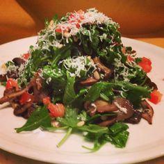 Salad special! Arugula, fresh tomato, roasted wild mushrooms, shaved ricotta salata, toasted pine nuts tossed in a warm panchetta vinaigrette   #fornobistro