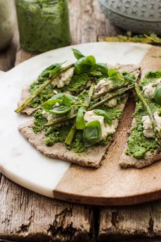 Broccoli Pesto Pizza with Macadamia Cauliflower Ricotta (Vegan & Gluten Free)