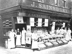 Outside a Sainsbury's shop around 1904.  In early Victorian times some boys started work as young as five or six years old. From 1880 it was the law that children had to go to school until they were 11 years old. Many children would still have started work at 12 or 13. Some boys were employed by shops to look out for shoplifters, others to assist the salesmen or to help deliver orders to customers.