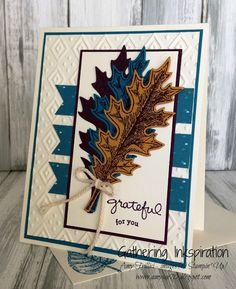 handmade thank you card, thank you card, handmade card, grateful for you, leaves, fall, baker's twine, embossed, DIY, demonstrator, paper crafting, easy, stamping, craft, paper, *Stampin' Up, by Amy Frillici, Gathering Inkspiration Stamp Studio, order products online at amysuzanne.stampinup.net