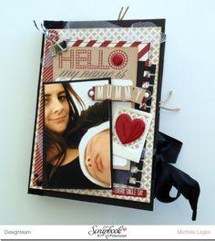 """Minialbum Hello My Name is Mummy - Teresa Collins Serie: """" Hello My Name is"""" auf www.crela.ch - Anleitung dazu in der Inspirationsgalerie der SBW"""