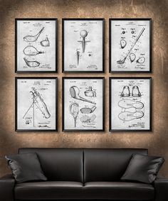 SET Of 6 GOLF Vintage Patent Illustration, Art Print Or Canvas, Wall Art  Decor, Golfer Gift, Golf Club, Golf Ball, Tee, Golfing Gift   S20