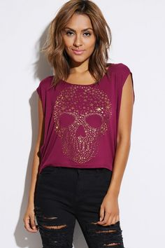 Wholesale fuchsia pink golden star skull graphic boxy high low tee