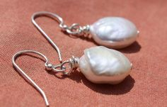 1.5in long Silver Wire Wrap White Coin Pearls Drop Earrings | AyaDesigns - Jewelry on ArtFire