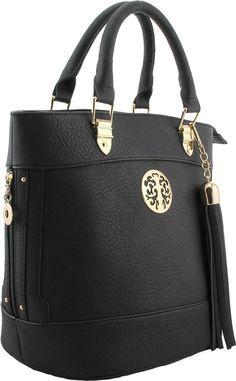 Black Structured Shoulder Bag Designer Logo Tassle Gold Detail Free Mk Key Ring Shoe