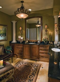 Would love this design and colors for a bathroom. I would get rid of the  pillars. Not necessary to the decor.