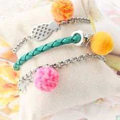 Wonderful Pompom charms in the best colours Jewelry Trends, Diy Jewelry, Summer Special, Wholesale Beads, Summer Accessories, Bunt, Charms, Colours, Inspiration