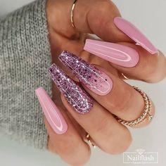 Pink Acrylic Nails, Acrylic Nail Designs, Glitter Nails, Nail Art Designs, Pink Bling Nails, Purple Glitter, Gold Nails, Nail Swag, Cute Nails