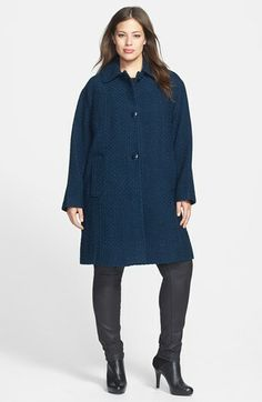 Gallery Basket Weave Walking Coat (Plus Size) available at #Nordstrom