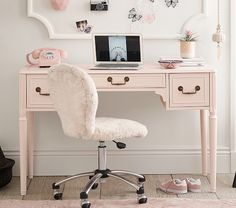 The easy charm of vintage cottage furniture is captured in the Juliette Collection. Like all of our furniture, the c… Girls Desk Chair, Desk For Girls Room, Cute Desk Chair, Teen Girl Desk, Kids Desk Chairs, Desk For Kids, Pink Desk Chair, Pottery Barn Bedrooms, Pottery Barn Desk