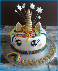 Unicorntaart Birthday Cakes, Food And Drink, Sweet, Desserts, Candy, Tailgate Desserts, Deserts, Birthday Cake, Postres