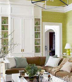 green grasscloth + pottery collection