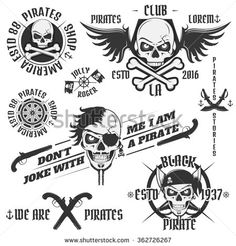 Set of vintage pirate emblems, tattoo, icon, tee shirt - stock vector