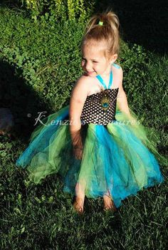 Peacock Crochet Tutu Halter Dress - just add some feathers!
