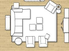 Possible living room furniture layout - imagine the entertainment center is the fireplace. Sofa table needs to be longer and add 2 table lamps on it.