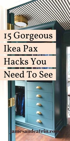 The Ikea Pax is a great basic wardrobe from which you can create something amazing. These Ikea Pax hacks show you what is possible. You can create walk in wardrobes, built in closets, entryway storage and more with these Ikea Pax hacks. Ikea Wardrobe Hack, Ikea Pax Hack, Wardrobe Wall, Closet Hacks, Wardrobe Organisation, Ikea Pax Closet, Wardrobe Doors, Wardrobe Ideas, Walk In Wardrobe Inspiration