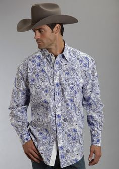 Stetson® Mens Blue Crystal Paisley Long Sleeve Pearl Snap Cowboy Shirt