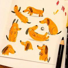 «Late night doggie doodles. #dogs #dogsofinstagram #sketch #sketchbook #illustration #doodle #drawing #linziedraws #woof»