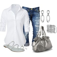 casual sexy  ~~  Love this!  Got the denim capri's and the white button-down top, just need a silver purse!!