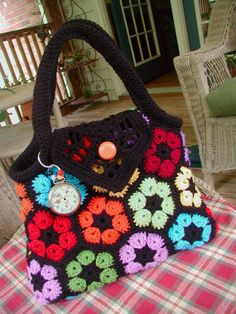 Fiddlesticks - My crochet and knitting ramblings.: This is why I crochet! Basic Crochet Stitches, Knit Or Crochet, Crochet Patterns, Flower Crochet, Crochet Afghans, Bag Pattern Free, African Flowers, Craft Bags, Tapestry Crochet