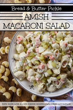 Bread & Butter Pickle Amish Macaroni Salad - Are you looking for a macaroni salad that is both sweet and tangy? Well then, this Amish macaroni salad recipe is just what you've been searching for. Finely chopped celery, carrot, and hard-boiled egg add lots of great texture while bread and butter pickles give this creamy pasta salad just the right hint of sweet vinegary flavor. Basically, this Amish macaroni salad has everything you could ever want in a pasta salad and more. Recipes With Bread And Butter Pickles, Bread & Butter Pickles, Boiled Egg, Hard Boiled, Macaroni Salad Ingredients, Amish Macaroni Salad, Creamy Pasta Salads, Pickled Carrots, Rich Recipe