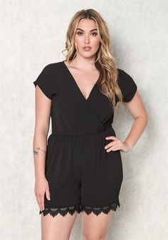 Plus Size Clothing | Plus Size Surplice Crochet Trim Romper | Debshops.com