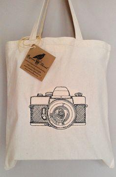 Vintage Camera Tote Bag Cotton Canvas Embroidery by RavensThread 8e4b53efada78