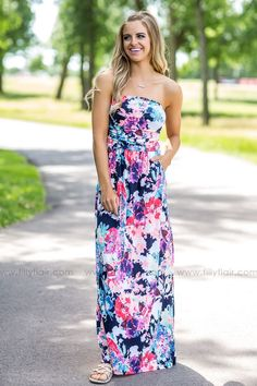 Permanent Vacation Neon Floral Strapless Maxi Dress