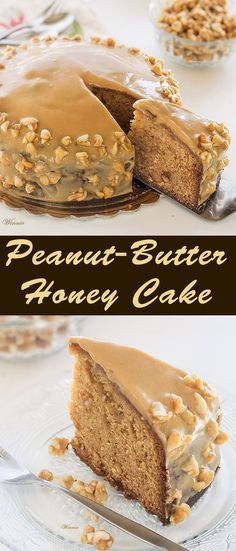 Peanut Butter Honey Cake topped with Peanut-butter cream.