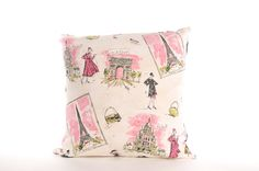 """decorative throw pillow cover, April in Paris France French country home decor, 16"""" x16""""  pink, black stripes, reversible case, toss, OOAK on Etsy, $16.00"""
