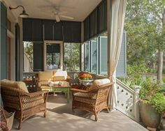 Screened Porch with Wicker, Ceiling Fans & Working Shutters