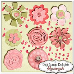 Digital Scrapbooking: Hannah Mega Digital Scrapbook Kit (Coral Pink, Green, Brown) Buy 2 Items Get 1 Free Special