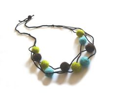 Wool felt and cotton necklace - green lime, brown, light blue turquoise. €22.00, via Etsy.