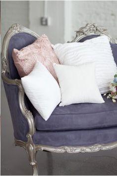 Lavender sofa with silver frame. So pretty.