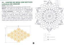 maosdefadadocariri@yahoo.com.br Crochet Motif, Crochet Doilies, Diagram, Fairies, Craft, Tejidos, Doilies Crochet