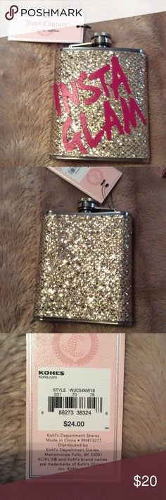 Juicy Couture Glam Flask NWT New with tag glam flask . Gold sparkle with silver tone on top and bottom . Juicy Couture Accessories