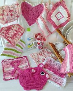 """Watch Christina review this pattern set: Skill Level: Easy Sizes: Fancy Heart - About 9½"""" wide, 10½"""" long. Pink Stripes - About 10"""" square. """"Marjorie"""" - About 9¾"""" square. Singly Pink - About 9"""" wide,"""