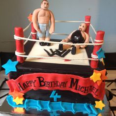 WWF wrestling cake Wrestling Cake, Wrestling Party, Raw Wrestling, 8th Birthday, Birthday Cakes, Birthday Parties, Boy Cakes, Cakes For Boys, Sports Themed Cakes