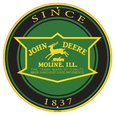 "John Deere ""Since 1837"" embossed metal sign is 12"" diameter. LP67286"