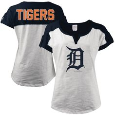 5th & Ocean by New Era Detroit Tigers Women's White Glitter Logo Slub T-Shirt