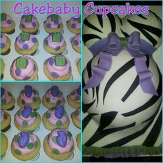Baby Bump Cake/Cupcake Party Package. Custom zebra print Baby Bump Cake with purple & green accents in Vanilla Bean. Baby themed cupcakes in White Chocolate Raspberry. #cakebabycupcakes #cupcakes #cake #baby #shower #babyshower #custom #Atlanta #Delivery