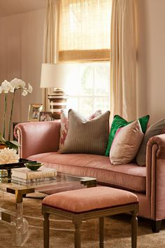 Lavender and malachite green living room.  Absolute luxury.  Plush pillows provide a unique and comfortable back to the couch!  #jfdesigns #jennfeldmandesigns