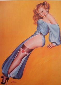 Peter Driben Smiling Sexy Readhead Showing Leg Silk Stocking Pinup Girl Print | eBay