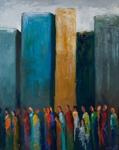 """""""City Dwellers"""" by Shelby McQuilkin abstract figurative oil painting, city, urban, colorful"""