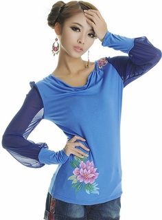 Chinese Style Embroidering Long Sleeve T-Shirt Blue-- Click on the picture to order it>>Shop price:US$11.20---#shoes #wholesale #fashion #lovely #cheap #Korean #dress #sexy #clothes#