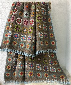 Trendy Ideas For Crochet Blanket Boho Yarns Crochet Baby Poncho, Crochet Poncho Patterns, Afghan Crochet, Crochet Borders, Crochet Ideas, Granny Square Pattern Free, Granny Squares, Crochet Skirt Outfit, Ravelry Crochet