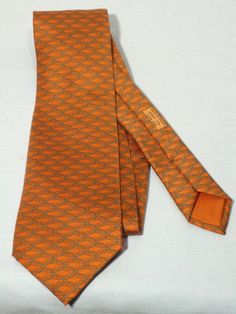 Iconic Hermes Orange Silk Tie Made In France from My Vintage Clothes Line at rubylane.com
