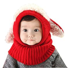 68fd649a2cb Unisex-baby Toddler Winter Beanie Warm Hat Hooded Scarf Earflap Knitted Cap Girls  Boys http
