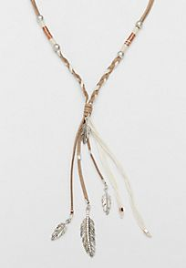 braided faux suede necklace with metal feather pendants