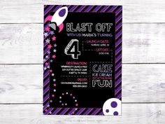 Rocket Girl Outer Space Birthday Invitation - Printable - Black, Purple and Pink by ConleeScottDesign on Etsy https://www.etsy.com/listing/471277866/rocket-girl-outer-space-birthday
